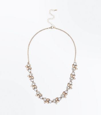 Rose Gold Stone Embellished Necklace New Look
