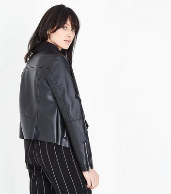 Black Leather-Look Waterfall Jacket New Look
