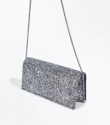 Pewter Glitter Clutch Bag New Look