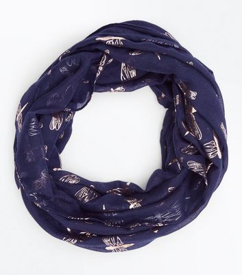 Navy Metallic Dragonfly Print Snood New Look