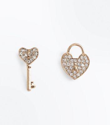 Gold Padlock And Heart Stud Earrings New Look