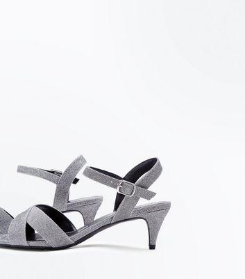 Wide Fit Silver Glitter Cross Strap Kitten Heels New Look