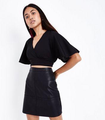 Petite Black Cape Sleeve Crop Top New Look