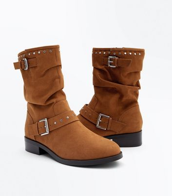 Wide Fit Tan Suedette Stud Trim Calf Boots New Look