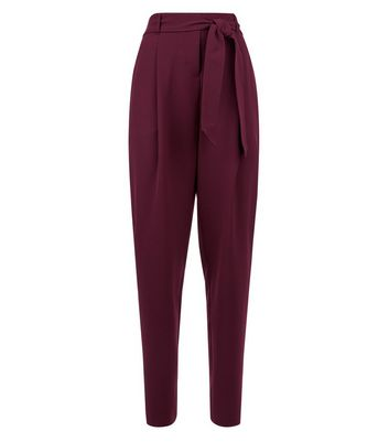 Tall Burgundy Tie Waist Trousers New Look