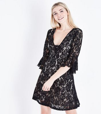 Tall Black Lace Lattice Front Skater Dress New Look