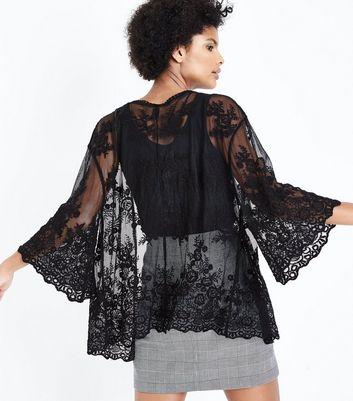 Black Floral Crochet Kimono New Look