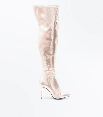 Rose Gold Metallic Stiletto Heeled Over the Knee Boots New Look