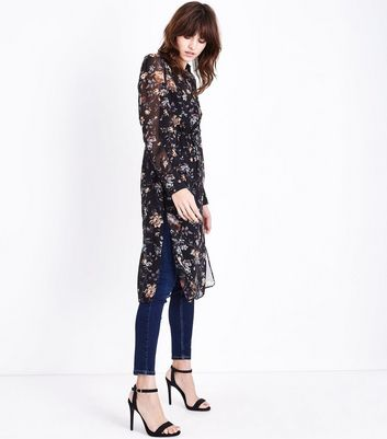 Tall Black Floral Chiffon Longline Shirt New Look