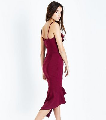AX Paris Plum Frill Trim Dip Hem Midi Dress New Look