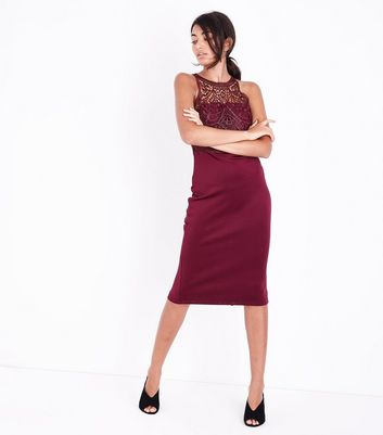 AX Paris Dark Red Lace Top Midi Dress New Look