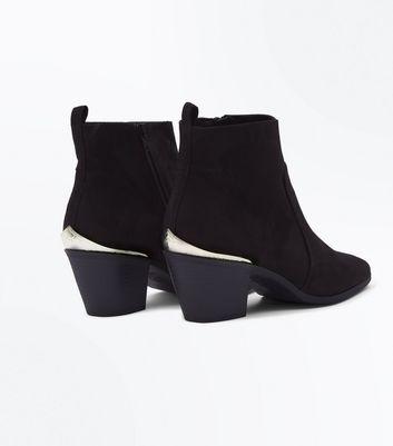 Black Suedette Metal Trim Western Boots New Look