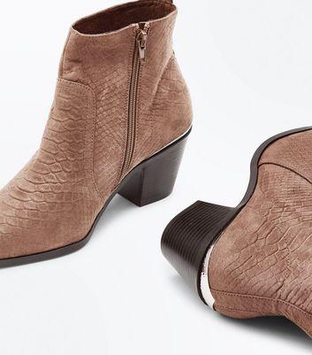 Mink Suedette Croc Effect Metal Trim Western Boots New Look