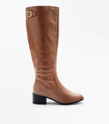 Tan Comfort Block Heel Knee High Boots New Look