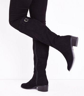 Black Comfort Suedette Block Heel Knee High Boots New Look