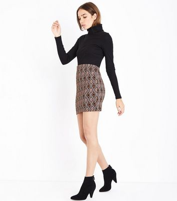 Tall Black Diamond Jacquard Tube Skirt New Look