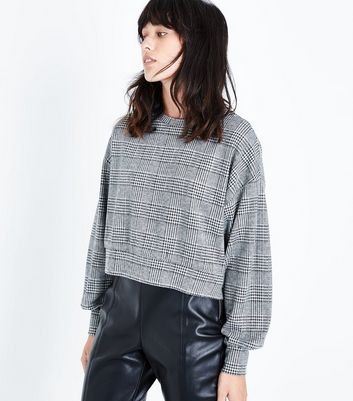 Black Houndstooth Check Cropped Jumper New Look