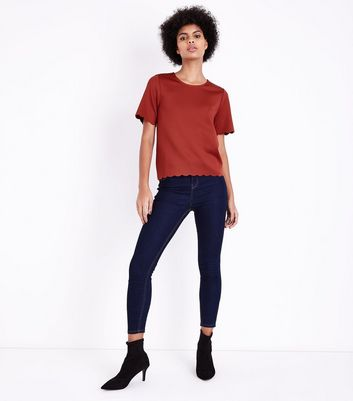 Tall Rust Scallop Hem Scuba T-Shirt New Look