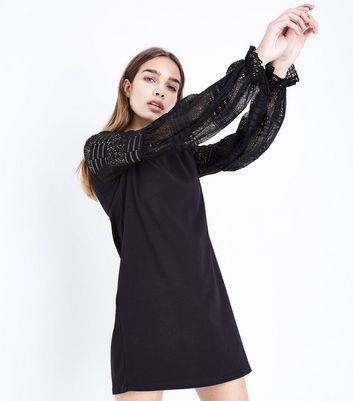 Black Lace Balloon Sleeve Shift Dress New Look