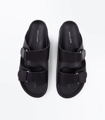 Black Double Strap Stud Side Sliders New Look