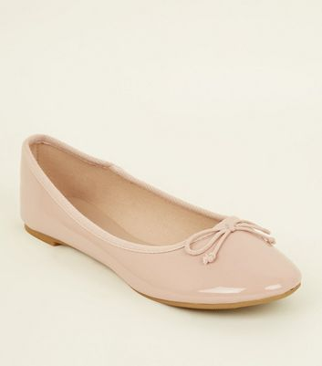Nude Patent Leather Look Ballet Pumps