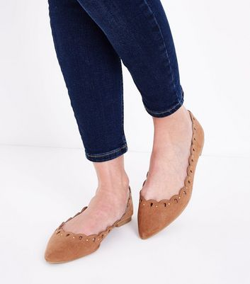 Tan Suedette Studded Cut Out Pointed Pumps New Look