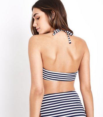 Blue Stripe Ribbed Under Wire Bikini Top New Look