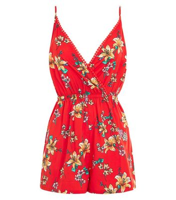Jumpsuits & Playsuits Size 8 Women's Clothing 100% True New Look Red Flower Print Playsuit