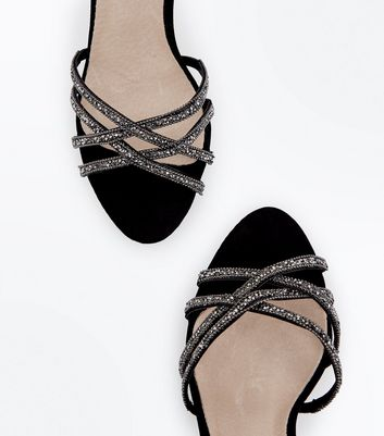 Black Comfort Flex Suedette Crystal Strappy Sandals New Look
