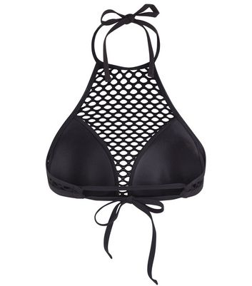 Black Mesh Neck Bikini Top New Look