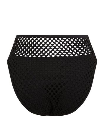 Black Mesh High Waist Bikini Bottoms New Look