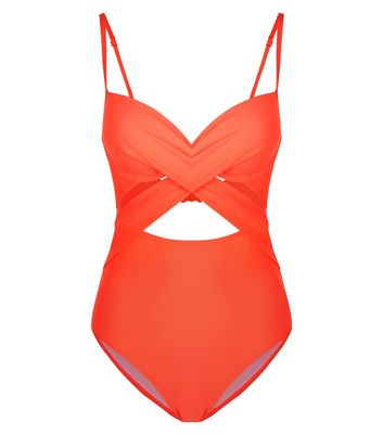 Coral Cut Out Wrap Front Plunge Neck Swimsuit New Look