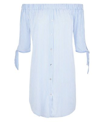 Blue Stripe Bardot Neck Beach Dress New Look