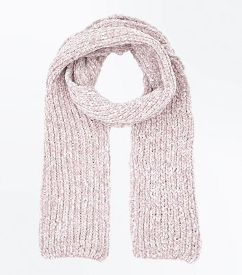 Pink Chenille Scarf New Look