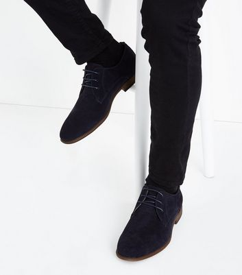 Navy Faux Suede Stitch Side Derby Shoes New Look