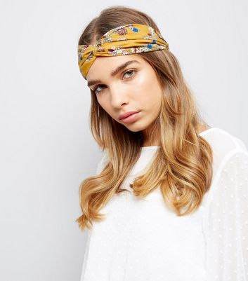 Yellow Floral Print Top Knot Hair Band New Look