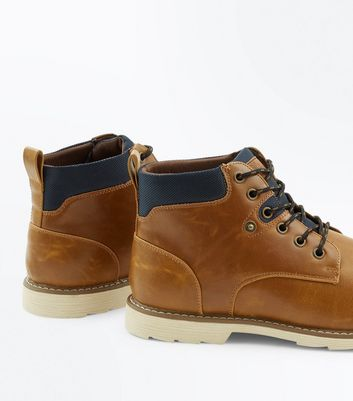 Tan Lace Up Worker Boots New Look