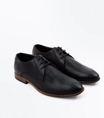 Black Stitch Side Derby Shoes New Look
