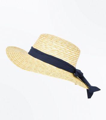 Stone Ribbon Floppy Boater Hat New Look