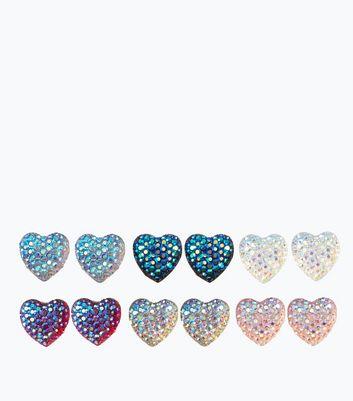 6 Pack Multi Coloured Heart Earrings New Look