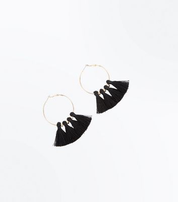 Black Tassel Hoop Earrings New Look