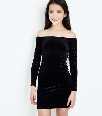 Teens Black Velvet Bardot Neck Bodycon Dress New Look