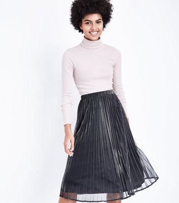 Silver Metallic Pleated Midi Skirt New Look