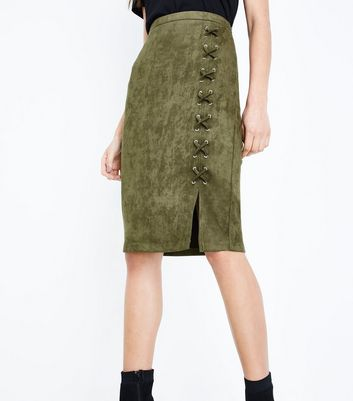 Khaki Suedette Lace Up Pencil Skirt New Look
