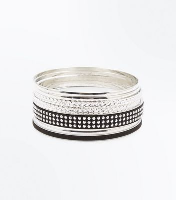 Black Studded and Suedette Bangle Pack New Look