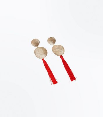Red Tassel Textured Disc Drop Earrings New Look