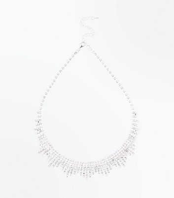 Silver Diamante Spike Necklace New Look