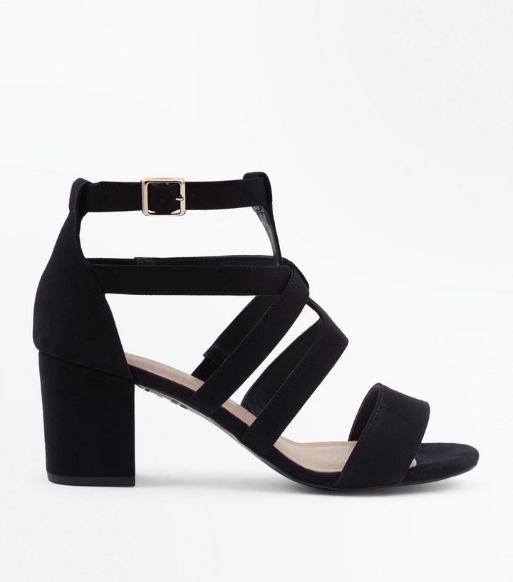 56f6e767377 Black Comfort Flex Suedette Heeled Gladiator Sandals