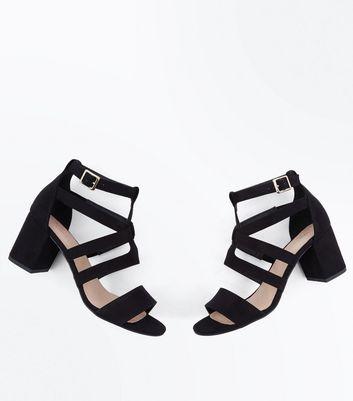 Black Comfort Flex Suedette Heeled Gladiator Sandals New Look
