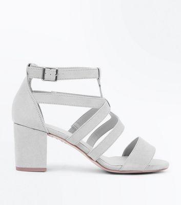 Grey Comfort Flex Suedette Heeled Gladiator Sandals New Look